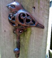 Adorable Cast Iron Rustic Bird Sculpture Hanging Wall Clothing Coat Hook Rack