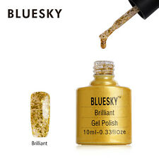 CHRISTMAS Bluesky Soak Off UV LED Gel Nail Polish Brilliant Gold Flake Glitter