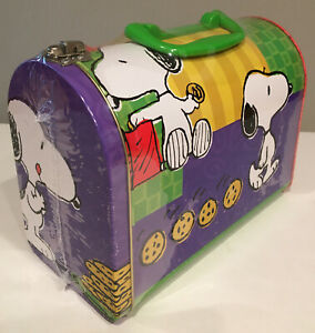 VTG-NEW-SEALED-Peanuts-Snoopy-Cookie-TIN-Mailbox-PURSE-LUNCHBOX-HANDLE-amp-Latch