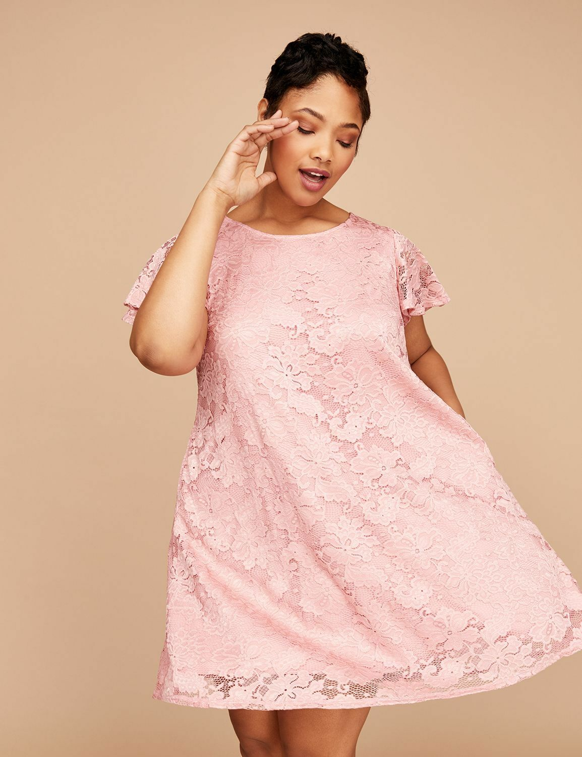 ef5099af305 NEW LANE BRYANT PLUS SIZE FLUTTER SLEEVE SWIG DRESS SZ 22 24 LACE PINK  nvpvko1430-Dresses