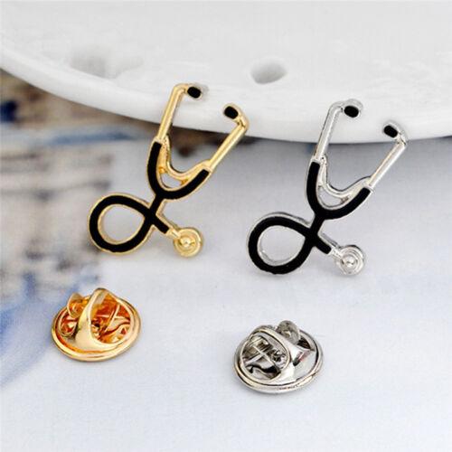 Gold Silber überzog Stethoskop Brosche Pin Krankenschwester Sch KQYBCHY hf