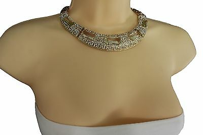 Women Fancy Style Jewelry Choker Necklace Thick Gold Metal Silver Beads Bulky