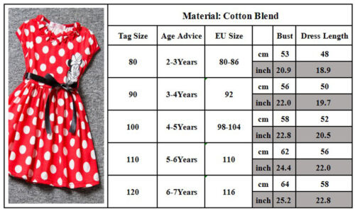 Baby Girls Dresses Cartoon Minnie Mouse Bowknot Princess Dress Party Age2-7