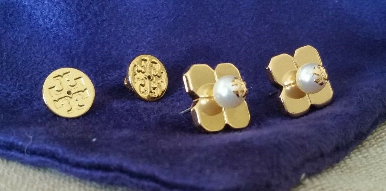 TORY BURCH BABYLON STUD EARRING gold PLATED + POUCH NWT