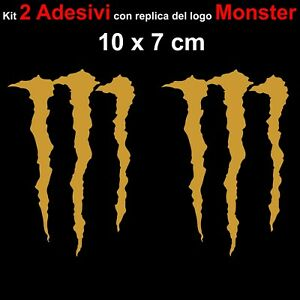 Kit-2-Adesivi-Monster-Graffio-Moto-Stickers-Adesivo-7-x-10-cm-decalcomania-ORO