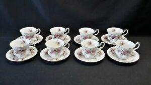 Royal-Albert-England-Lavender-Rose-Set-of-8-Cups-amp-Saucers-Minor-Blemishes