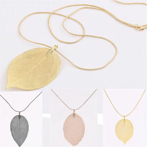 Women-Fashion-Jewelry-Leaves-Leaf-Sweater-Pendant-Long-Chain-Necklace-New