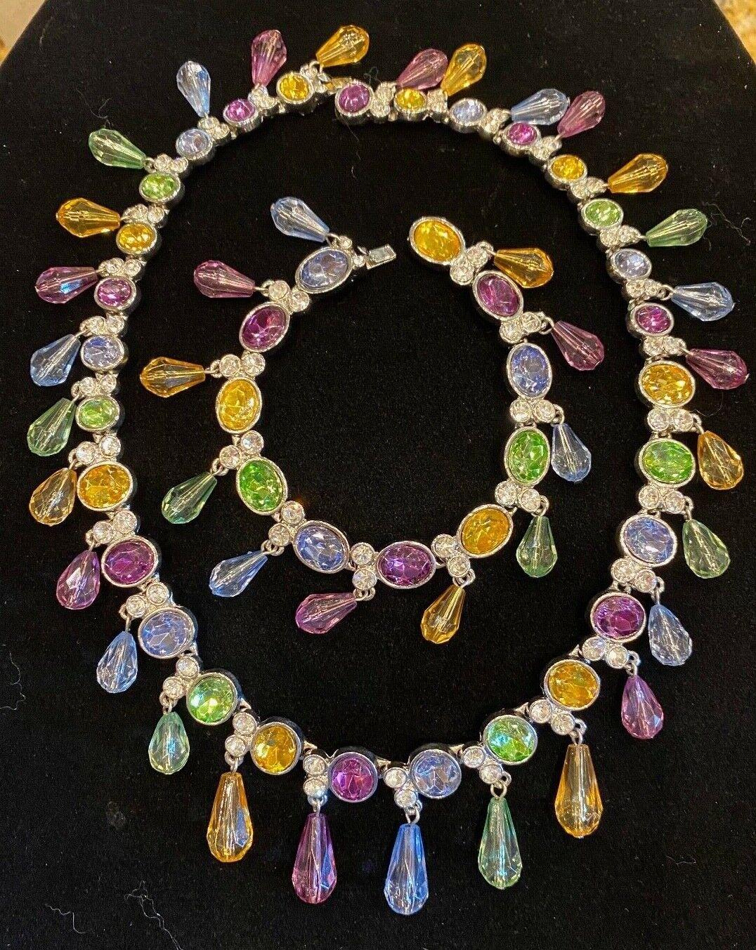 Vintage Arnold Scaasi Multi Color Crystal Necklac… - image 4