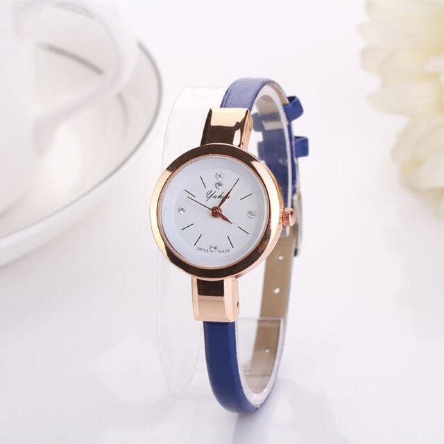 Ladies Fashion Rose Gold White Dial Quartz Slim Blue Bracelet Band Wrist Watch.