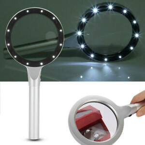 5X-10X-Handheld-Magnifier-Reading-Magnifying-Glass-12-LED-Lights-Jewelry-VUD