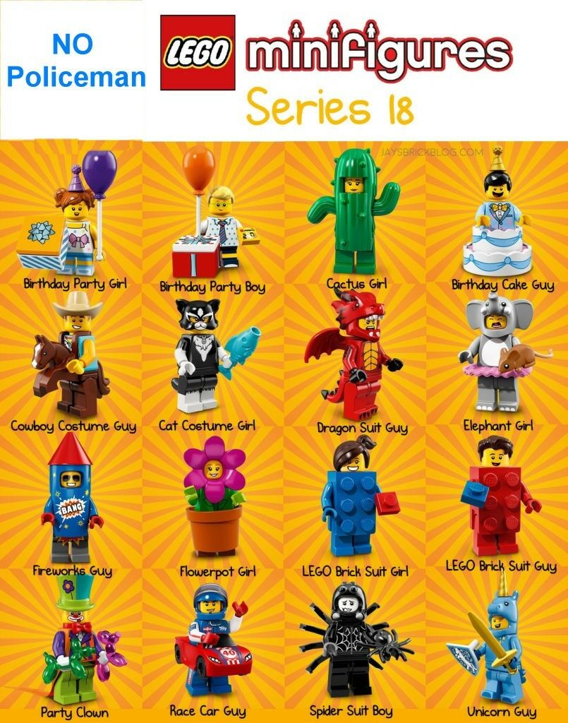 Lego Minifigures Series 18 has 16 figures (no policeman)