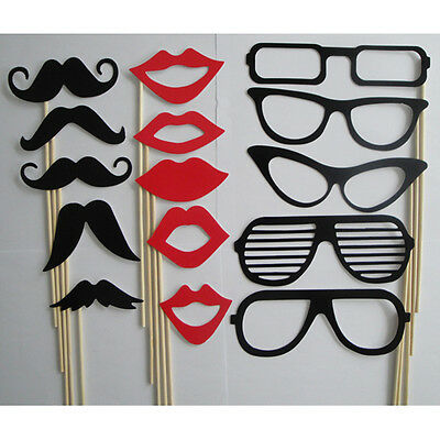 15Pcs Photo Booth Props Moustache Lips Glasses On A Stick Party Birthday Wedding