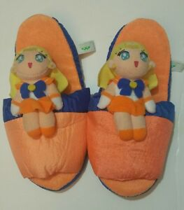 Anime-Sailor-Moon-Sailor-Venus-UFO-Prize-only-Plush-Doll-Slippers-Japan-Rare