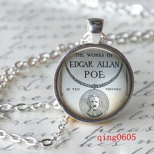 Vintage Cabochon Tibetan silver Glass Chain Pendant Necklace text  #Y78