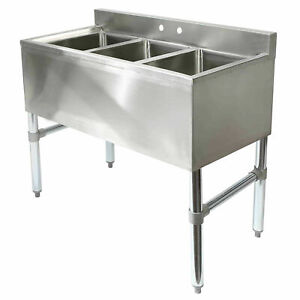 Three Compartment Commercial Kitchen Sink - Stainless Steel