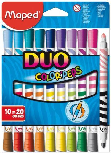 Consejos de Fieltro Punta Duo Color /'Peps 10 Pack tan 20 Colores