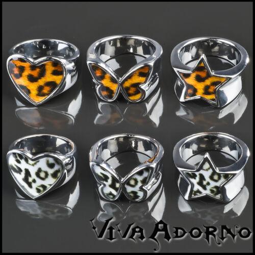 Edelstahl Ring Herz Stern Schmetterling Leopard Rockabilly Leo silber RS48