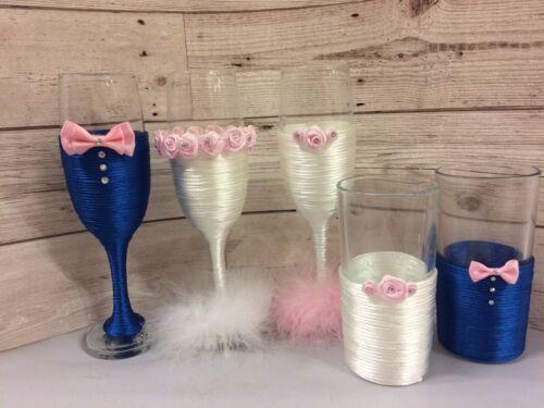 Fête de mariage mariée marié toastage Flûtes à champagne verres bleu blanc rose gris