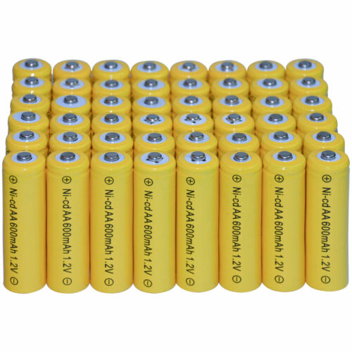 80 AA 2A Size 600mAh 1.2V Rechargeable Battery For Garden Solar Light Yellow USA
