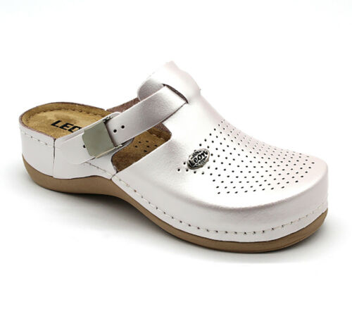 LEON 900 Ladies Women Leather Slip On Mules Clogs Slippers Sandals Pearl New UK