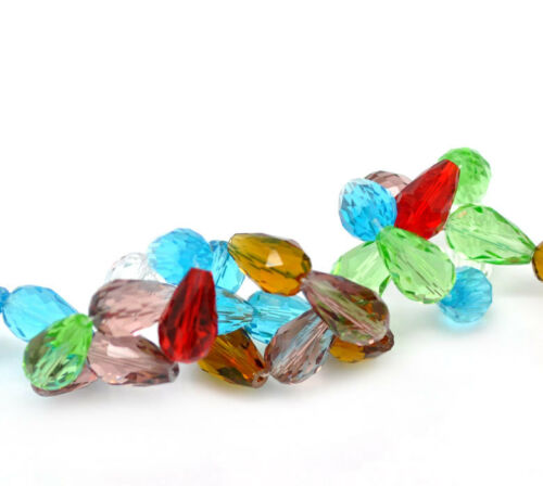 UK 1 SRAND 50 MIXED TEARDROP FACETED CRYSTAL GLASS BEADS~15x10mm~NECKLACE 58C