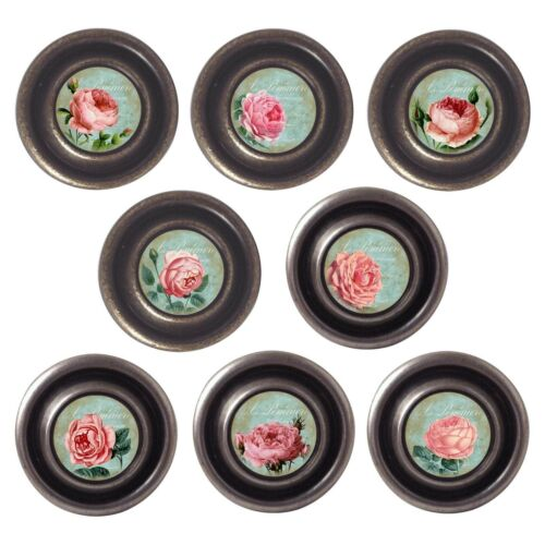 Brass or Pewter Knobs Roses 32mm Cupboard Drawer Door Handles Decorated