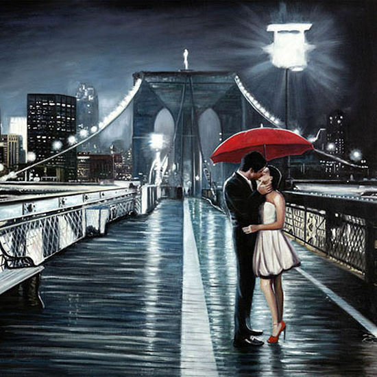 Pierre Benson  Kissing on Brooklyn Bridge Keilrahmen-Bild Leinwand Paar New York
