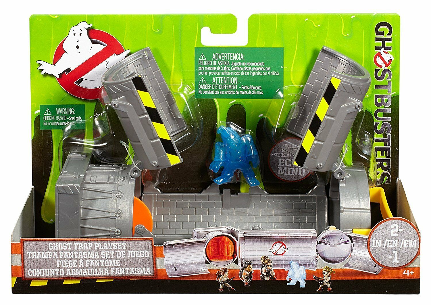 GHOSTBUSTERS GHOST TRAP ECTO MINI PLAYSET 2 in 1 SUBWAY SCENE MOSC MATTEL 2016