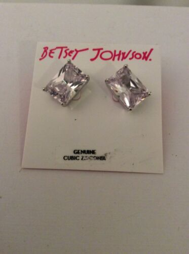 $30 Betsey Johnson Clear  Banquette Stud Earrings  E78