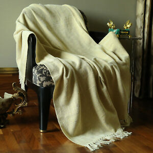 Throw-Blanket-with-Tassel-Woven-Travel-Blanket-50-034-X-60-034-Sofa-Bed-Decorative
