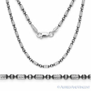 Sterling-Silver-Black-Rhodium-2-3mm-Diamond-Cut-Bead-Link-Chain-Italian-Necklace