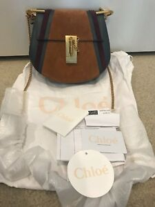 6ca2e868589 Image is loading Chloe-Drew-Mini-Patchwork-Leather-amp-Suede-Blue-