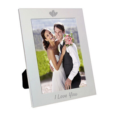 Christmas Gift For Him and Her I LOVE YOU Engraved Hearts 5x7 Photo Frame