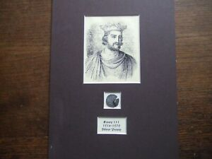 HENRY III.  1216-1272  SILVER PENNY.  IN A CARD MOUNT IDEAL FOR FRAMING