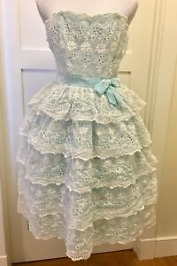 Image Is Loading 50s 60s Vintage White Eyelet Lace Tiered Party