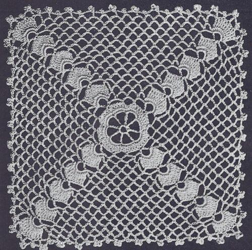 Vintage Crochet Pattern Wedgewood Motif Tablecloth