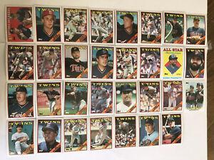 1988-MINNESOTA-TWINS-Topps-COMPLETE-Baseball-Team-SET-31-Cards-PUCKETT-HRBEK