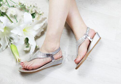 LADIES WOMENS DIAMANTE WEDGE SANDALS HEELS ELASTIC STRAP SUMMER BEACH SHOES SIZE