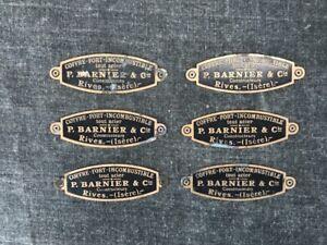 RIVES-ISERE-six-plaques-ovales-laiton-atelier-usine-deco-meuble-coffre-fort