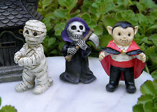 Miniature Dollhouse FAIRY GARDEN ~ 3 HALLOWEEN Figurines MUMMY Reaper VAMPIRE