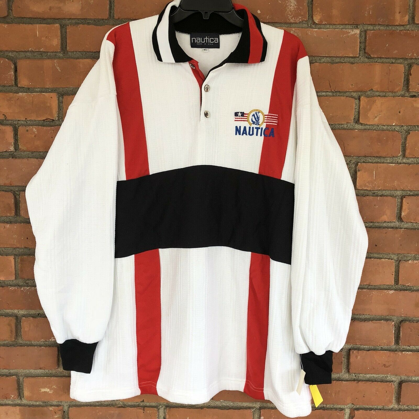 329f0ec2 RARE NWT Vintage NAUTICA Polo Sweater Sweatshirt Knit Top XL 90s ...