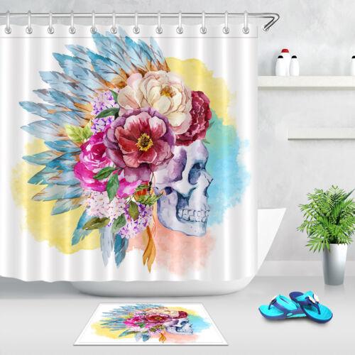"""72X72/"""" aquarelle et plume fleur floral Crâne Rideau de douche fond blanc"""