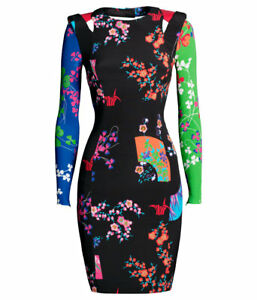 New-Versace-H-amp-M-Stampa-Floral-Silk-Mini-Stretch-Dress-Size-UK-6-EU-34-US-4-BNWT