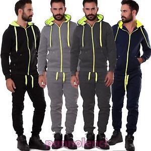 Tuta-uomo-pantaloni-felpa-cappuccio-sport-fluo-zip-cerniera-nuova-S6607