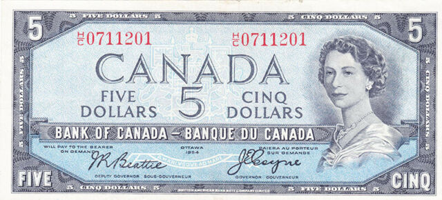 1954 Bank of Canada $5 Devils Face Note - H/C Series - Beattie / Coyne