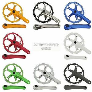 Bicycle-Crank-Alloy-Set-52T-175mm-Fixed-Gear-Beach-Cruiser-BMX-All-Colors