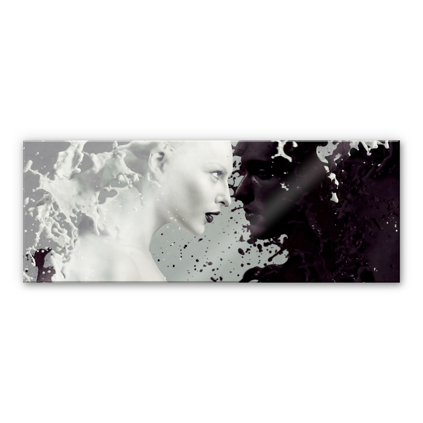 Vetro acrilico immagine MILK & COFFEE-PANORAMA NERO BIANCO BIANCO BIANCO MURO immagine immagine Decorazione 3d e70bf6