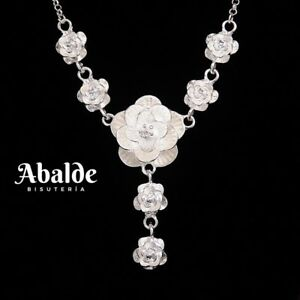 Collar-Colgante-Joya-Mujer-Rosa-De-Abril-Plata-Gala-Noche-Regalo-Dia-de-la-Madre
