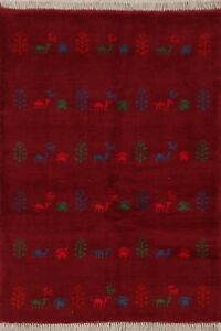 TRIBAL Hand-Knotted WOOL Gabbeh Area Rug Traditional Oriental Tribal Carpet 4x5