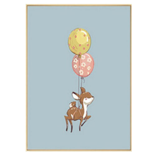 Home Wall Elephant Deer Dox Balloon Canvas Oil Painting Poster Cute Funny Decor